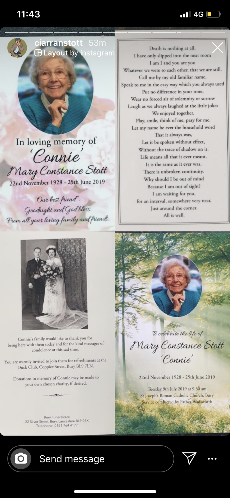 The reality star shared photos of his beloved nan's funeral program. Photo: Instagram/ciarranstott.
