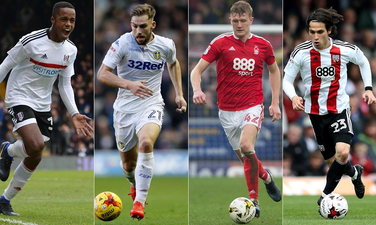 From left: Fulham's Ryan Sessegnon, Leeds United's Charlie Taylor, Joe Worrall of Nottingham Forest and Brentford's Jota.