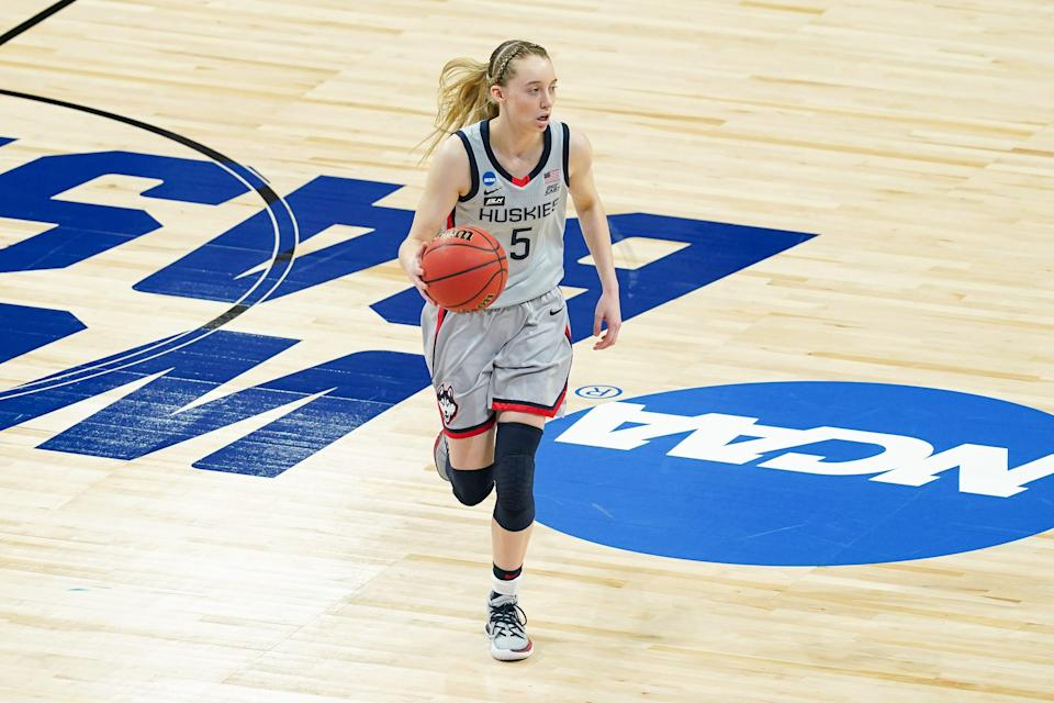 Connecticut guard Paige Bueckers averages 19.9 points, 4.7 rebounds and six assists through 26 games this season.