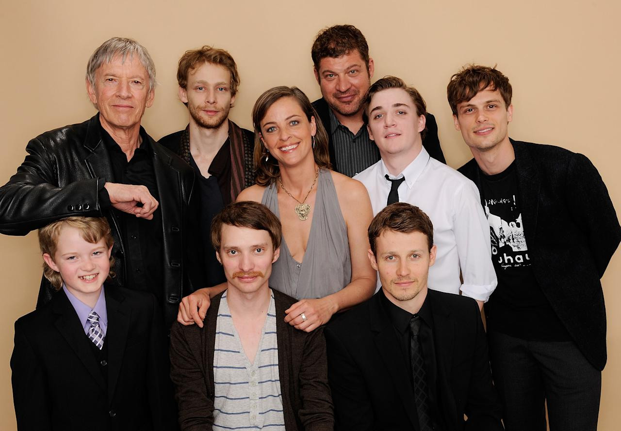 NEW YORK, NY - APRIL 23:  (L-R) Daniel Frandson, Scott Glen, Johnny Lewis, Alison Elliott, director Jaffe Zin, Brad Henke, Kyle Gallner, Will Estes and Matthew Gray Gubler visit the Tribeca Film Festival 2011 portrait studio on April 23, 2011 in New York City.  (Photo by Larry Busacca/Getty Images for Tribeca Film Festival)