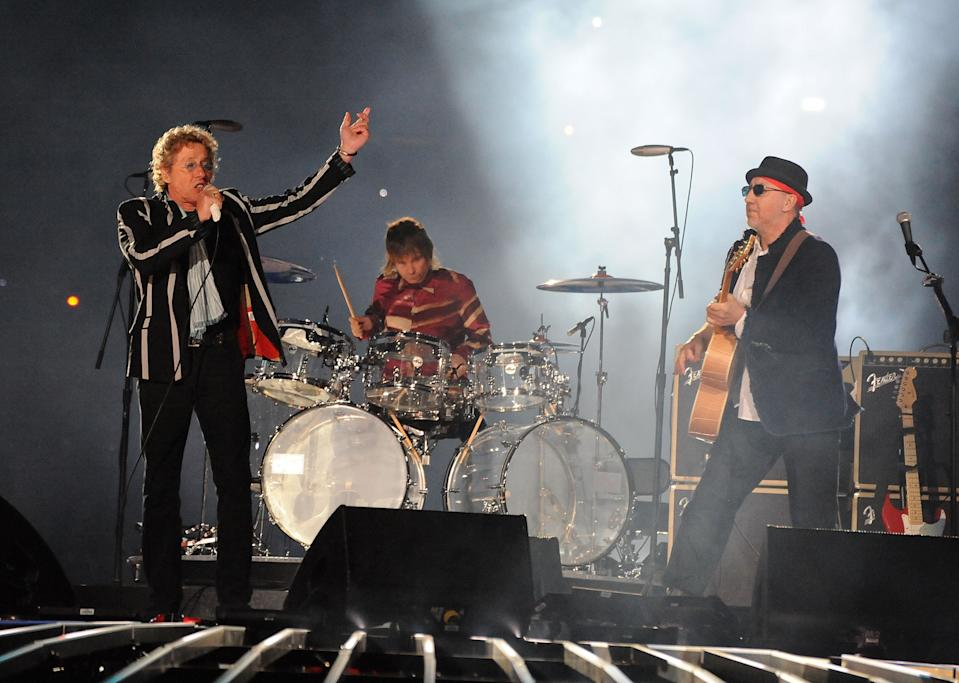 Roger Daltrey, Zak Starkey and Pete Townshend of The Who perform during the Super Bowl XLIV Halftime Show at Sun Life Stadium on February 7, 2010 in Miami Gardens, Florida. (Photo by Jeff Kravitz/FilmMagic)