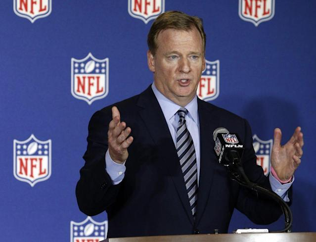 Roger Goodell talks to reporters in May (AP)