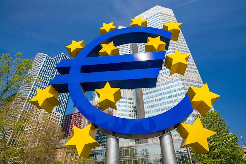 Famous euro sign in Frankfurt am Main with wide-angle shot daytime