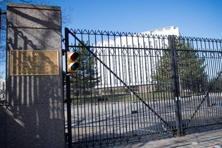 The US says that Moscow can apply to replace personnel at the Russian Embassy in Washington -- shown here -- who have been expelled from the country