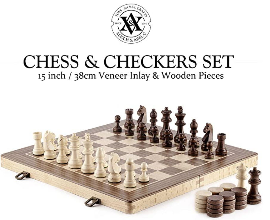Wooden Chess & Checkers Set (2-in-1). PHOTO: Amazon