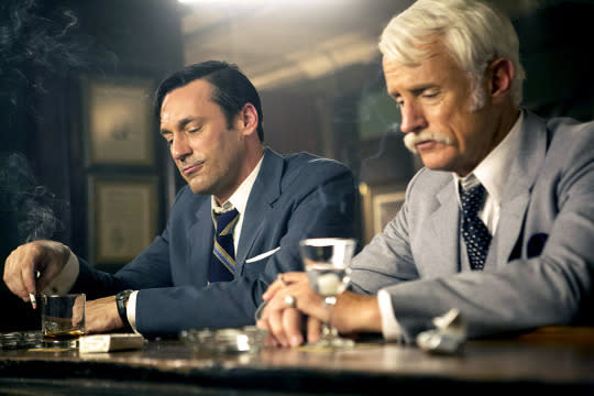 """<p>Others might prefer the series finale, but this was our favorite <i>Mad Men</i> episode of the year: an elegiac farewell to Sterling Cooper and the lost souls who inhabited it for seven seasons. We thought Don Draper might pull one last rabbit out of his hat with a plan to save his firm from being swallowed up by that monolith McCann-Erickson. But it ended in defeat, and our old friends throwing themselves an Irish wake at a local bar, awash in boozy sentiment. Plus, """"Time & Life"""" gave us the heartbreak of Peggy admitting her past pregnancy to Stan, and the high comedy of Pete """"The King Ordered It!"""" Campbell getting into yet another fistfight. — <i>DN</i> <br /></p><p><i>(Credit: AMC)</i></p>"""