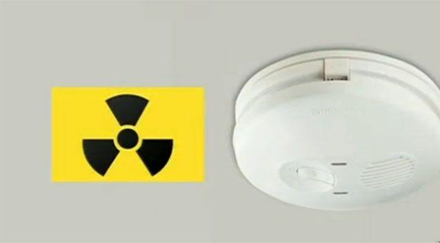 This radioactive symbol on the left indicates that the device is an ionisation alarm. Photo: 7 News