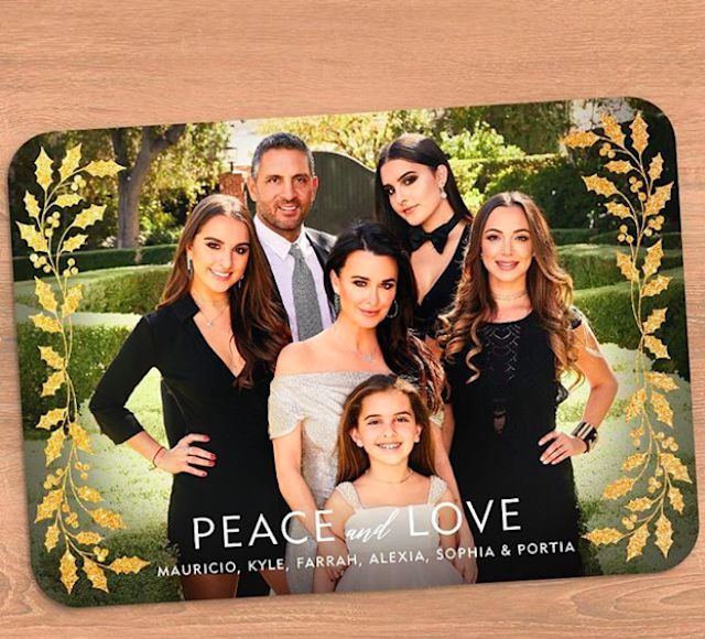 "The Richards-Umansky crew — Maurico, Kyle, Farrah, Alexia, Sophia, and Portia — are wishing you ""peace and love"" this holiday season. 'Cause let's face it: there's enough drama on the <em>Real Housewives of Beverly Hills</em> star's show. P.S.: She also cashed in on the card. (Photo: K<a href=""https://www.instagram.com/p/BcIxu-lAGT3/?hl=en&taken-by=kylerichards18"" rel=""nofollow noopener"" target=""_blank"" data-ylk=""slk:yle Richards via Instagram"" class=""link rapid-noclick-resp"">yle Richards via Instagram</a>)"