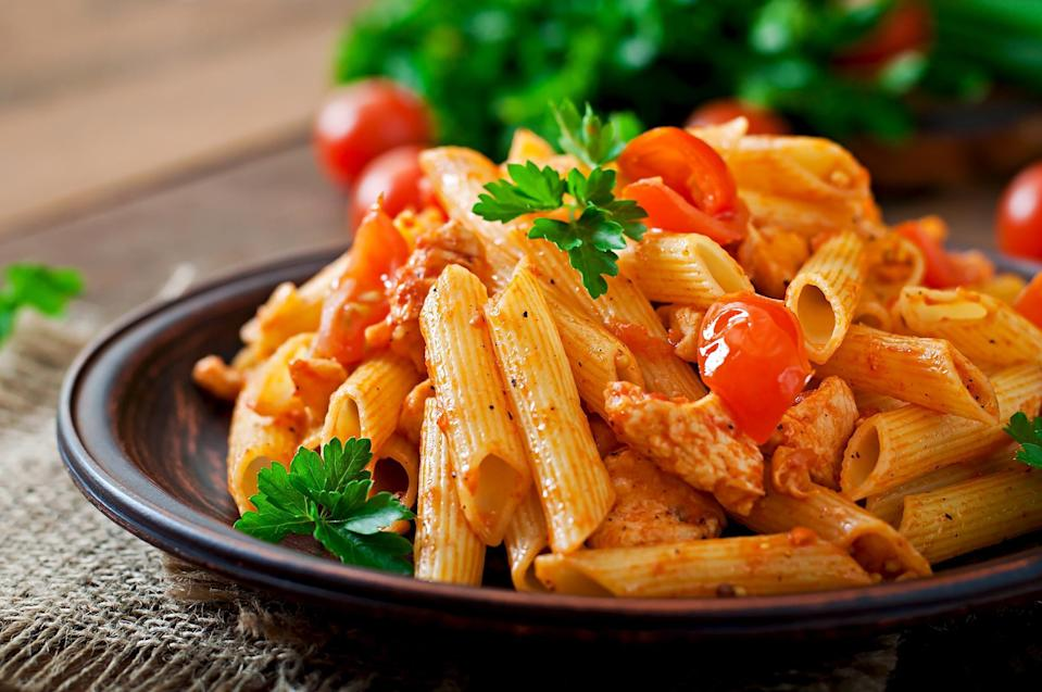 <p>Penne pasta is shaped in a way that's great for chunkier sauces like a thick meat sauce or cream-based sauce. It will cook in about 11 to 12 minutes.</p>