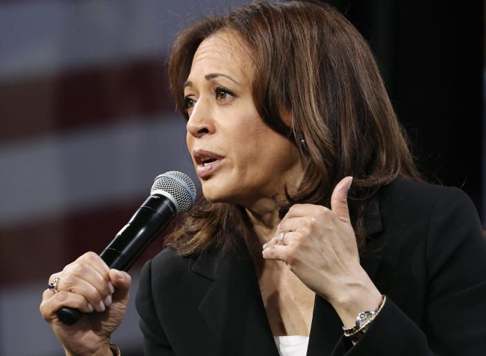 Democratic presidential candidate Sen. Kamala Harris, D-Calif., speaks at a Service Employees International Union forum on labor issues, Saturday, April 27, 2019, in Las Vegas. (AP Photo/John Locher)