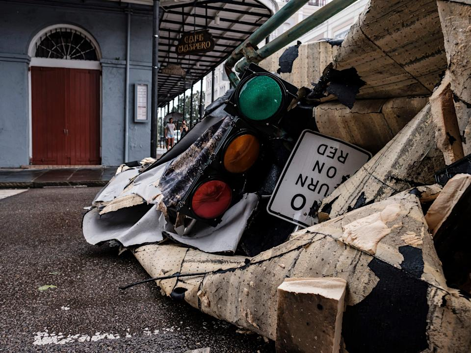 A chunk of roof that ripped off a building in the French Quarter due to Hurricane Ida in New Orleans, Louisiana, USA, 30 August 2021 (EPA)
