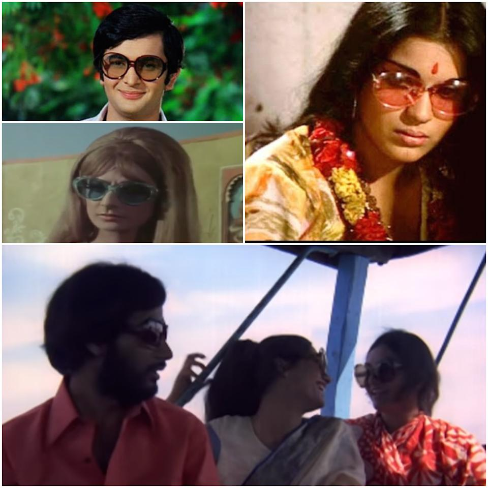 Nothing screams Seventies better than Zeenat Aman's big, rose tinted hippie glasses in Hare Rama Hare Krishna (1971). It was the age of bell bottoms, big collars, elaborate hair and of course the grooviest of the goggles there were. Stills from Hare Rama Hare Krishna (1971), Rajnigandha (1974), Purab Pachhim (1970) and Bobby (1973)