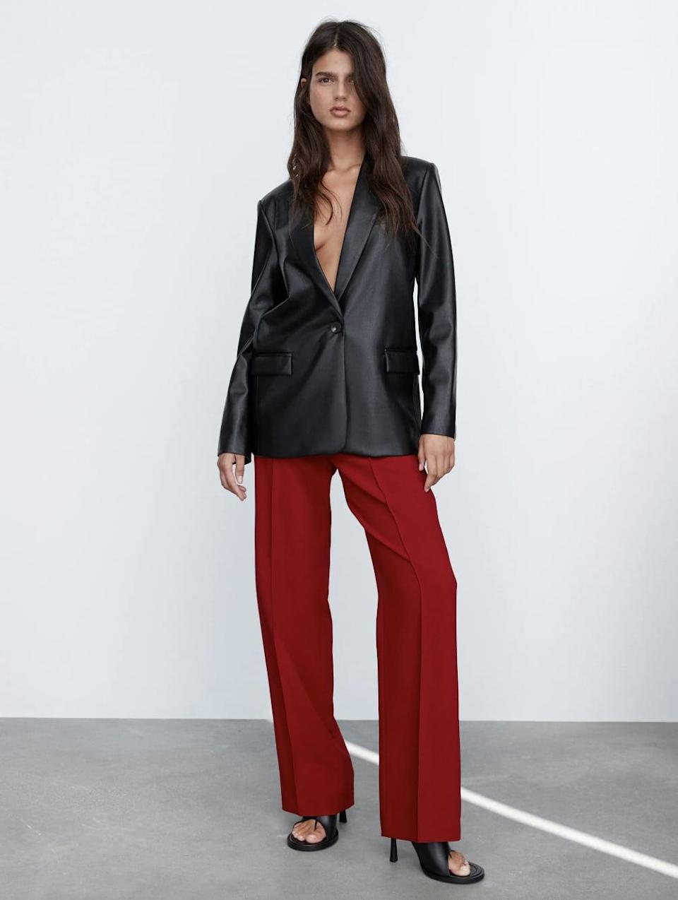 <p>We said pants can't be sexy? We adore these red hot <span> Zara Full Length Pants </span> ($50).</p>