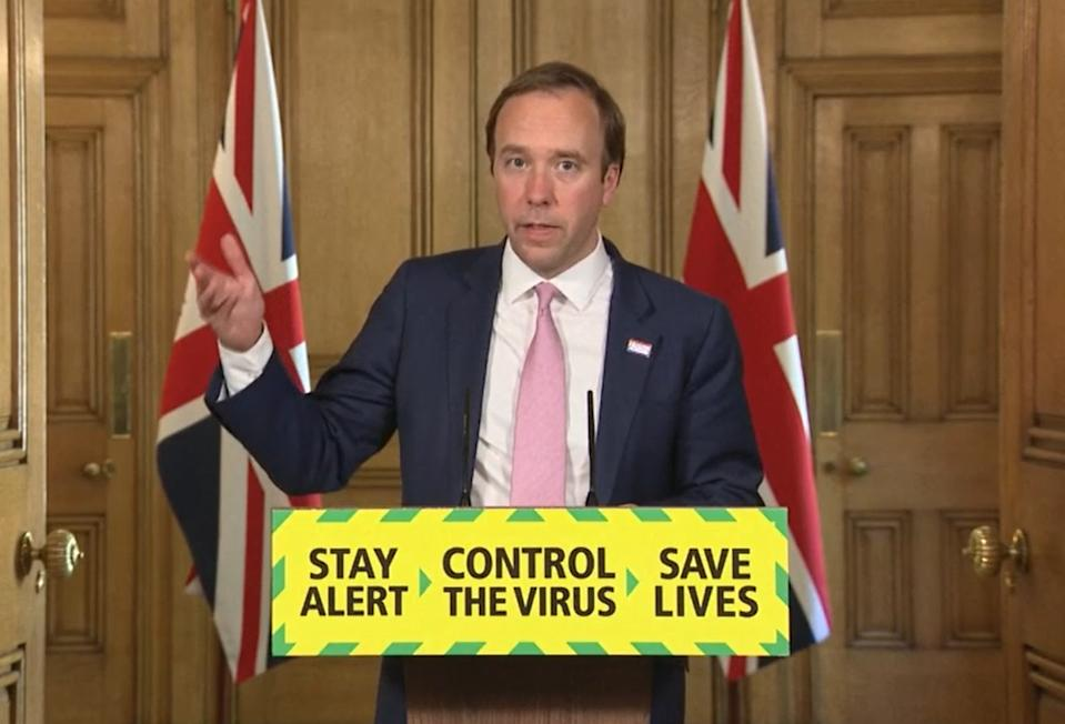 Screen grab of Health Secretary Matt Hancock, during a media briefing in Downing Street, London, on coronavirus (COVID-19). (Photo by PA Video/PA Images via Getty Images)