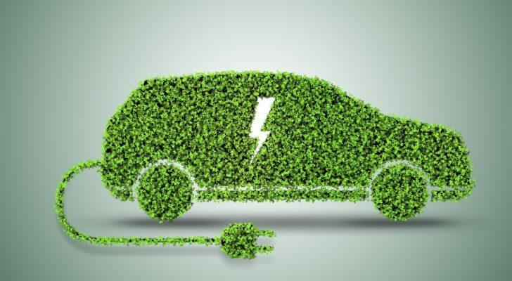 a bush cut out in the shape of a car with a plug attached to it and a charger symbol in the center implying it's an electric vehicle
