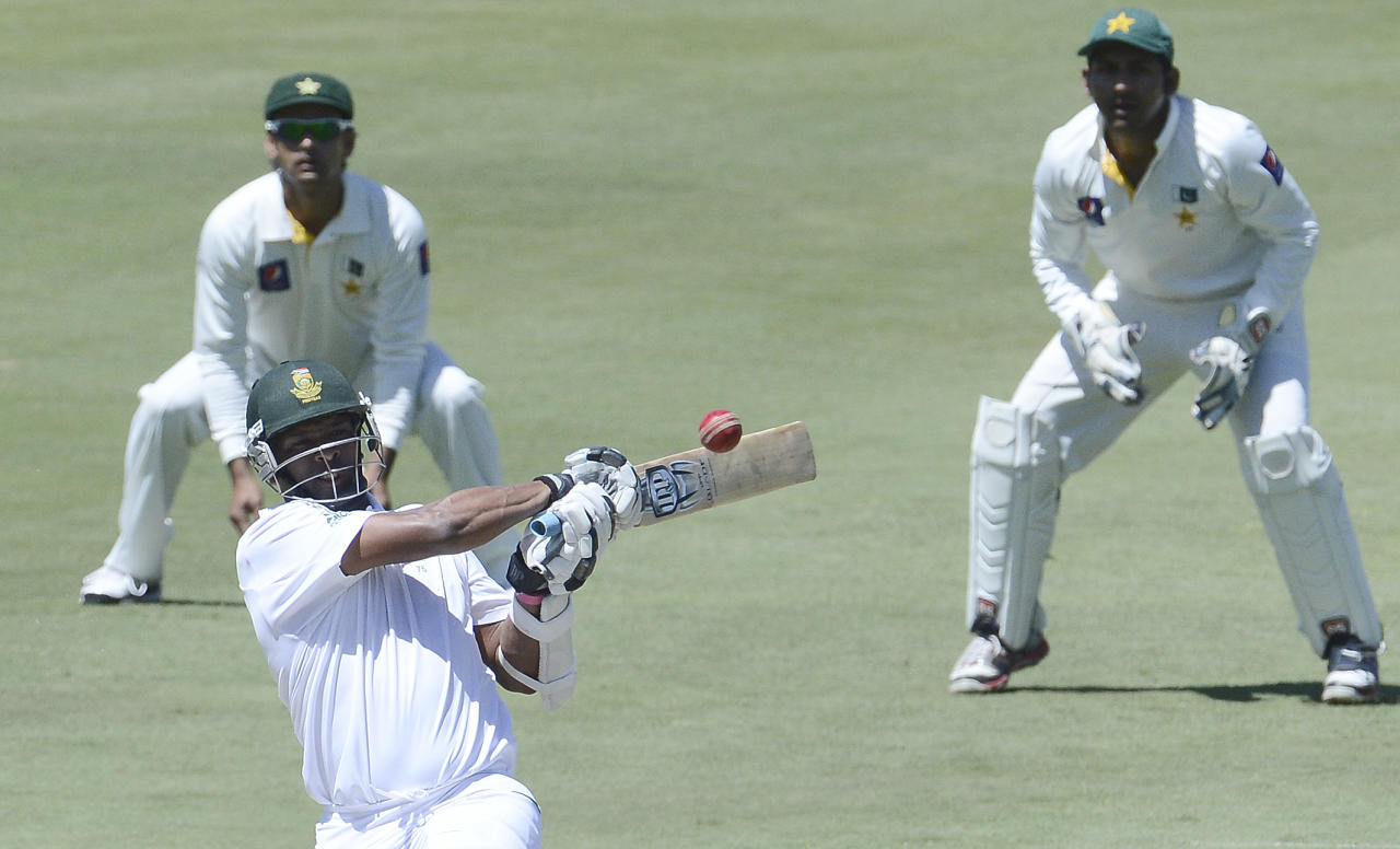 South African batsman AB de Villiers plays a shot during the second day of the third Test match between South Africa and Pakistan on February 23, 2013 at Super Sport Park in Centurion. AFP PHOTO / STEPHANE DE SAKUTIN        (Photo credit should read STEPHANE DE SAKUTIN/AFP/Getty Images)