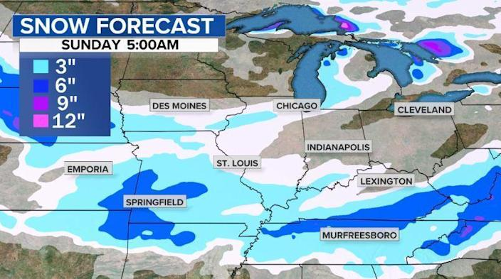 The snow forecast for Sunday morning. / Credit: CBS News