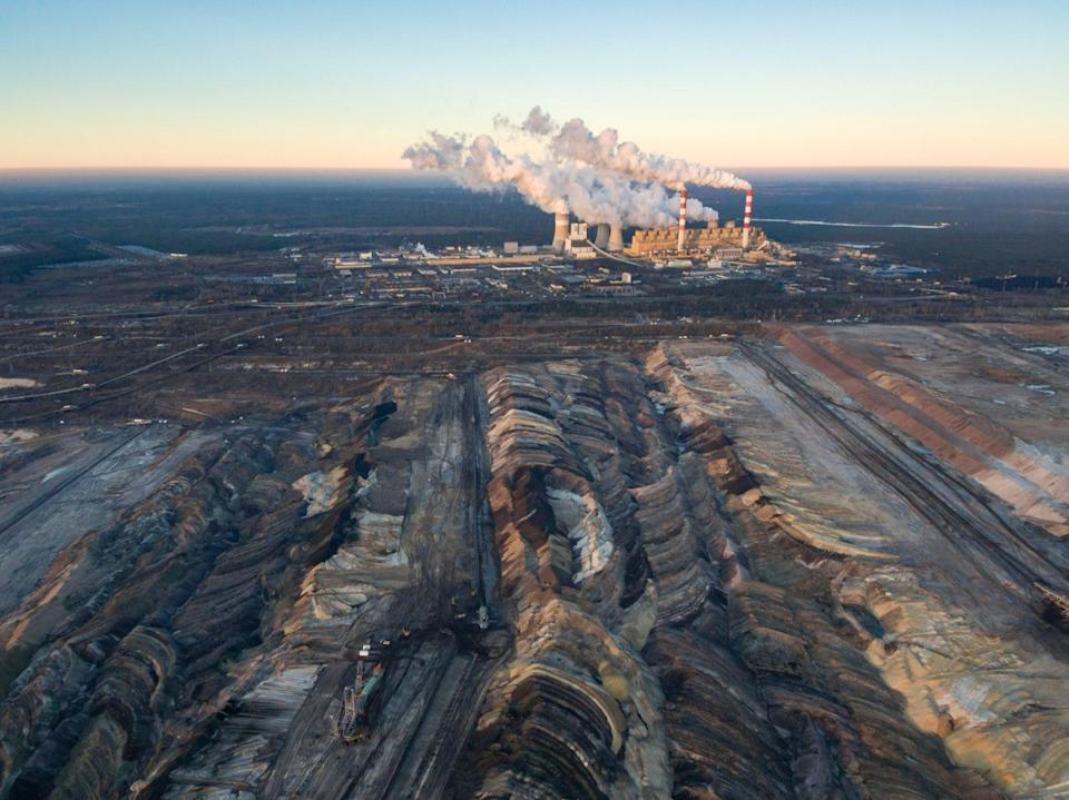 The huge open-cast coal mine and power station at Belchatow, in Poland (Getty)