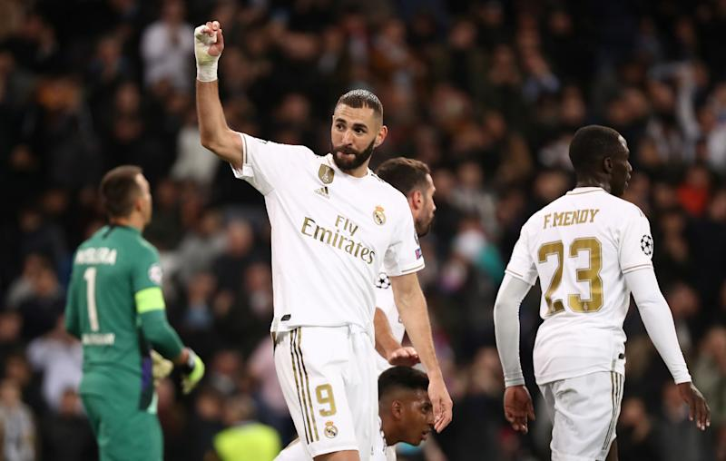 Soccer Football - Champions League - Group A - Real Madrid v Galatasaray - Santiago Bernabeu, Madrid, Spain - November 6, 2019 Real Madrid's Karim Benzema celebrates scoring their fifth goal REUTERS/Sergio Perez