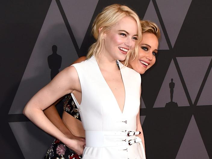 Jennifer Lawrence and Emma Stone AP images 2017