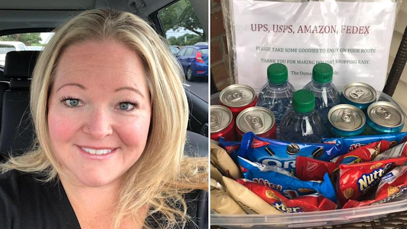 Delivery driver's wholesome reaction to surprise treats goes viral