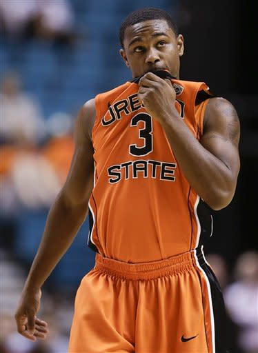 Oregon State's Ahmad Starks looks at the scoreboard late in the second half against Colorado during a Pac-12 tournament NCAA college basketball game on Wednesday, March 13, 2013, in Las Vegas. Colorado won 74-68.(AP Photo/Julie Jacobson)