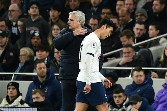 Tottenham Hotspur are hanging on for dear life to salvage something from their season with Korean star Son Heung min the latest player to be seriously injured said manager Jose Mourinho (AFP Photo/Glyn KIRK )