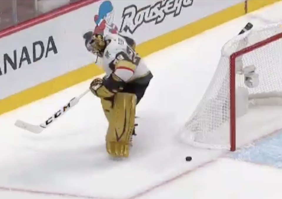 Marc-Andre Fleury made a devastating blunder with under two minutes left in regulation to give the Habs new life in Game 3. (Twitter/BradyTrett)