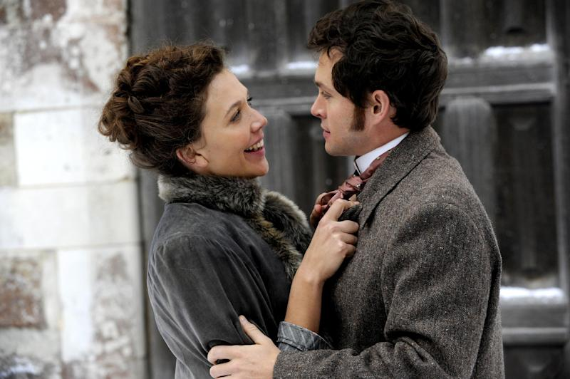 """In this film image released by Sony Pictures Classics, Maggie Gyllenhaal portrays Charlotte Dalrymple, left, and Hugh Dancy portrays Mortimer Granville in a scene from """"Hysteria."""" (AP Photo/Sony Pictures Classics, Liam Daniel)"""