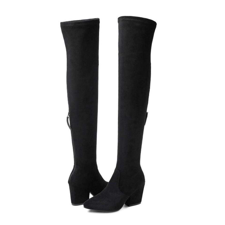 """<h3><a href=""""https://amzn.to/2wkO0mv"""" rel=""""nofollow noopener"""" target=""""_blank"""" data-ylk=""""slk:Over-The-Knee Boots"""" class=""""link rapid-noclick-resp"""">Over-The-Knee Boots</a></h3><br><strong>Sheridan</strong><br><br><strong>How She Discovered It:</strong> """"I ordered these boots myself after watching a few YouTube video reviews. I will scour the internet for hours watching video reviews. These boots received nothing but great product reviews and recommendations.""""<br><br><strong>Why It's A Hidden Gem:</strong> """"I'm a personal style consultant. I had a client that wanted my recommendations for Black OTK boots that were comfortable, stylish and wouldn't break the bank. These boots are spot-on and a dupe for any luxury designer OTK boot.""""<br><br><strong>N.N.G</strong> Over-The-Knee Suede Square-Heel Boots, $, available at <a href=""""https://amzn.to/2wkO0mv"""" rel=""""nofollow noopener"""" target=""""_blank"""" data-ylk=""""slk:Amazon"""" class=""""link rapid-noclick-resp"""">Amazon</a>"""