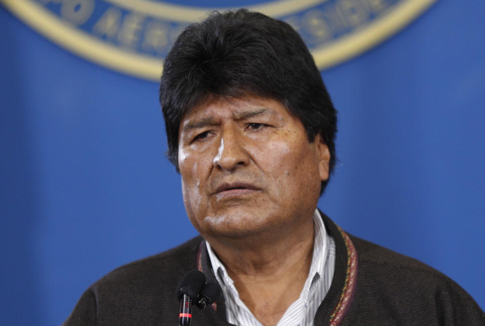 "Bolivia's President Evo Morales speaks during a press conference at the military airport in El Alto, Bolivia, Saturday, Nov. 9, 2019.  Police in three of the most important cities of Bolivia retreated to their barracks asking for the resignation of Morales, who stressed ""a coup d'etat in process"" and called for a dialogue with the opposition to pacify the country after weeks of protests against the results of the presidential elections. (AP Photo/Juan Karita)"