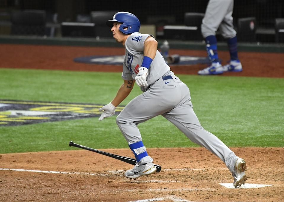 Austin Barnes runs out of the batter's box after hitting a solo home run in the sixth inning Oct. 23, 2020.