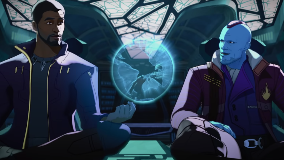 An animated T'Challa and Yondu sit in a spaceship with an orb between them