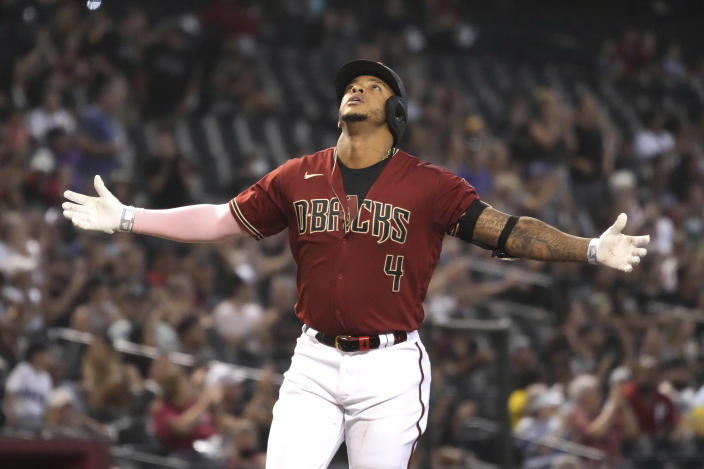 Arizona Diamondbacks' Ketel Marte celebrates after hitting a solo home run against the St. Louis Cardinals in the third inning during a baseball game, Sunday, May 30, 2021, in Phoenix. (AP Photo/Rick Scuteri)
