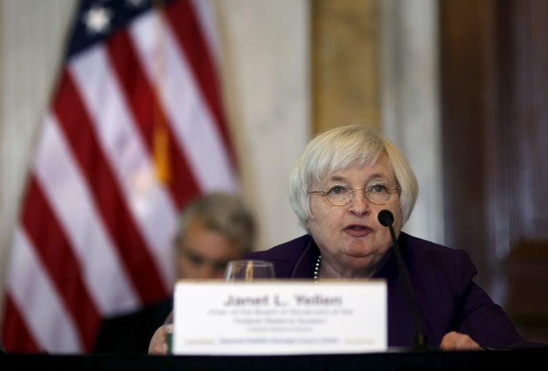 Yellen speaks at a meeting in Washington