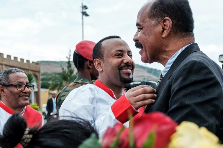 Ethiopian Prime Minister Abiy Ahmed (C) and Eritrea's President Isaias Afwerki embarked on a whip-fast rapprochement last year (AFP Photo/EDUARDO SOTERAS)