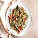 """<p>This super-quick side dish is the perfect way to use up a <a href=""""https://www.myrecipes.com/t/side-dishes/vegetable/okra"""" rel=""""nofollow noopener"""" target=""""_blank"""" data-ylk=""""slk:bounty of summer okra"""" class=""""link rapid-noclick-resp"""">bounty of summer okra</a>. A serrated peeler works like magic to peel plum tomatoes, sparing you the hassle of blanching and shocking in ice water to get the skins off.</p>"""