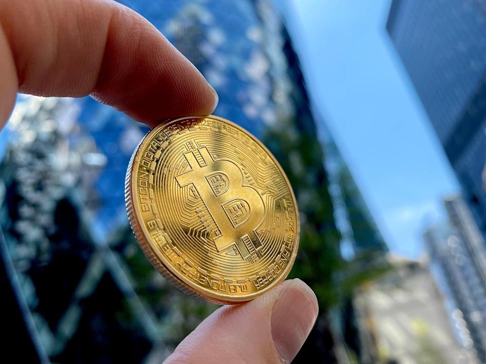 A visual representation of Bitcoin cryptocurrency is pictured on May 30, 2021 in London, England (Getty Images)