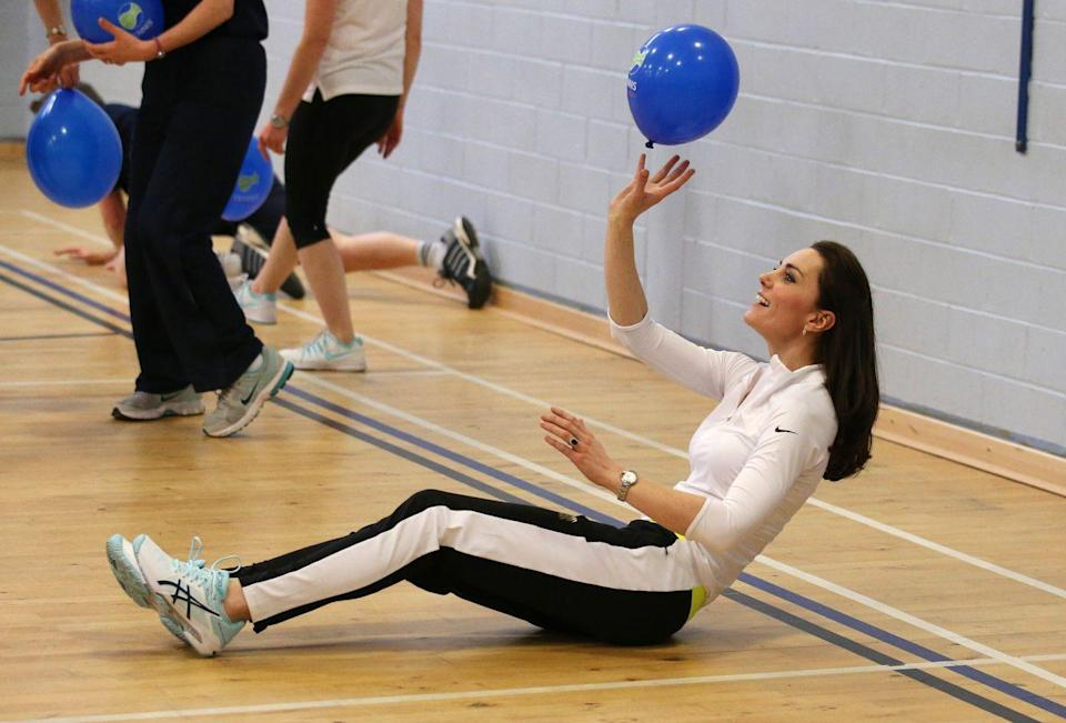 <p>Wearing some of her favorite black and white workout pants, Kate took part in an Edinburgh workshop with famed tennis player Andy Murray's mother.</p>