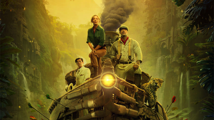 In Disney's latest attempt to mine box office gold from a theme park attraction, Dwayne Johnson portrays a riverboat captain taking Emily Blunt's scientist on an expedition to find a tree with healing powers. (Credit: Disney)
