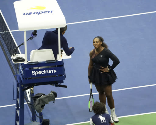 Serena Williams argues with the chair umpire during the U.S. Open final match against Naomi Osaka. (AP Photo)