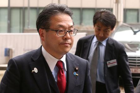 Japan's Minister of Economy, Trade and Industry Hiroshige Seko arrives at the European Commission headquarters in Brussels
