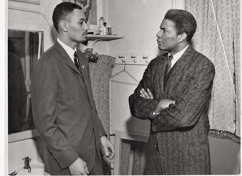 Weldon Rougeau, left, speaks with Ossie Davis during a trip to New York in 1962, where Rougeau and other civil rights activists recounted their experiences for a Commission of Inquiry into the Administration of Justice in the Freedom Struggle, led by Eleanor Roosevelt.