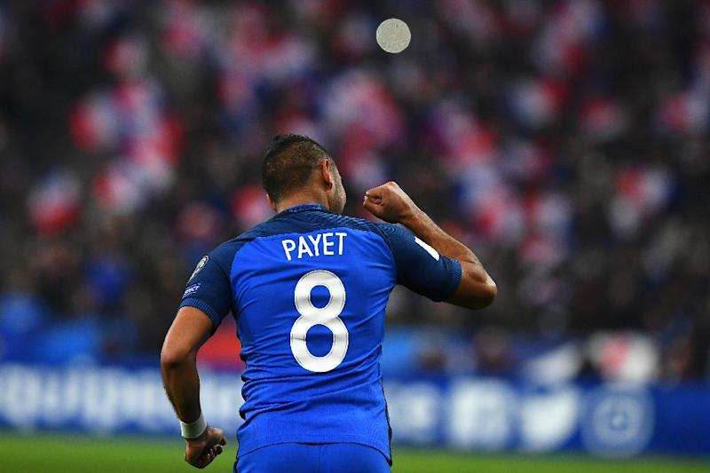 France's midfielder Dimitri Payet celebrates a goal during the 2018 World Cup group A qualifying football match between France and Sweden at the Stade de France in Saint-Denis, north of Paris, on November 11, 2016