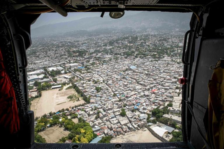 An aerial view of Haiti from a US Navy aircraft in September 1, 2021 (AFP/John BELLINO)