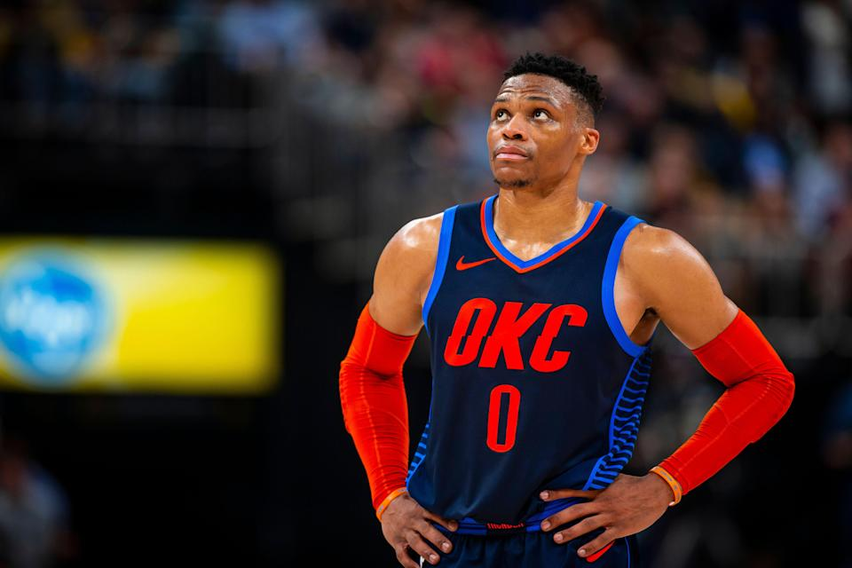INDIANAPOLIS, IN - MARCH 14:  Russell Westbrook #0 of the Oklahoma City Thunder looks on against the Indiana Pacers on March 14, 2019 at Bankers Life Fieldhouse in Indianapolis, Indiana. NOTE TO USER: User expressly acknowledges and agrees that, by downloading and or using this Photograph, user is consenting to the terms and conditions of the Getty Images License Agreement. Mandatory Copyright Notice: Copyright 2019 NBAE (Photo by Zach Beeker/NBAE via Getty Images)