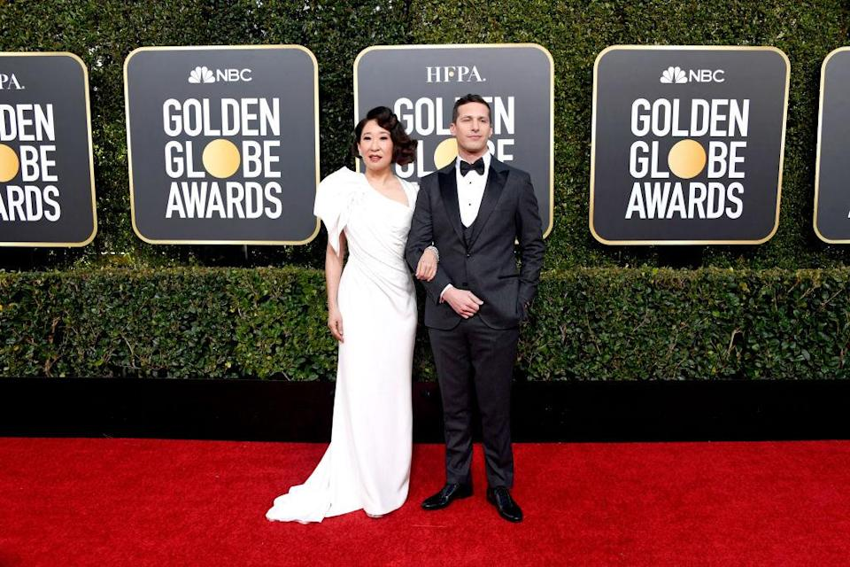 <p>Hosts Sandra Oh and Andy Samberg attend the 76th Annual Golden Globe Awards at the Beverly Hilton Hotel in Beverly Hills, Calif., on Jan. 6, 2019. </p>