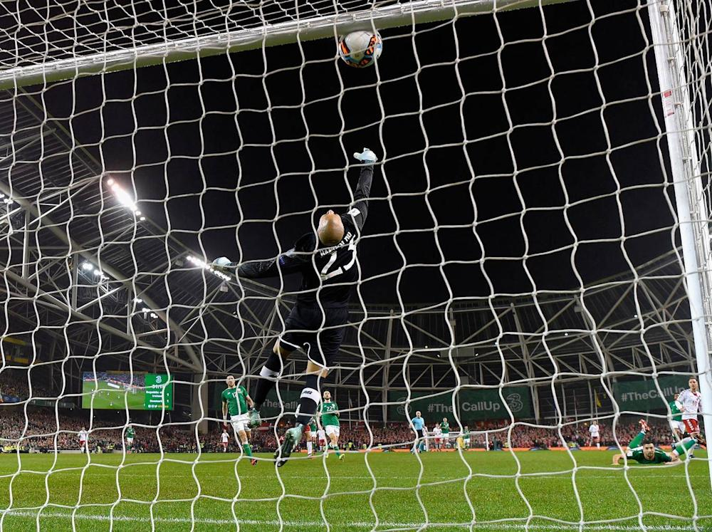 Eriksen's first goal cannoned in off the crossbar (Getty)
