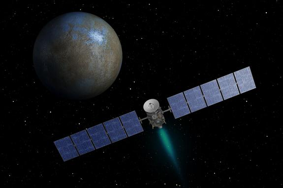 This artist's concept shows NASA's Dawn spacecraft heading toward the dwarf planet Ceres. Dawn spent nearly 14 months orbiting Vesta, the second most massive object in the main asteroid belt between Mars and Jupiter, from 2011 to 2012. It is he