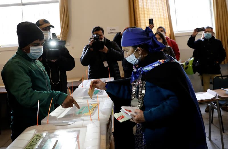 Chileans vote for governors, mayors, councillors and constitutional assembly members to draft a new constitution, in Temuco